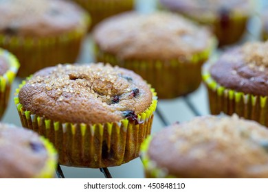 Healthy Paleo Vegan Gluten-free Banana Muffins with Berries and Honey on a Baking Tray, Delicious, Close-up View