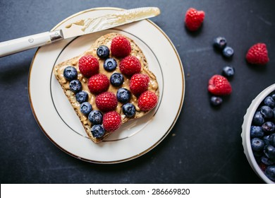 Healthy peanut butter and berries toast