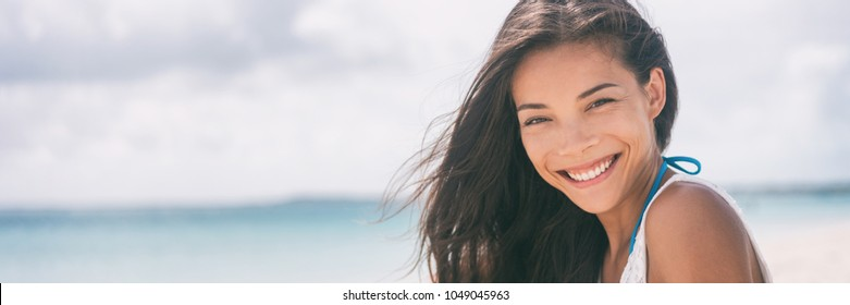 Healthy people Asian woman smiling banner on beach vacation lifestyle. Multiracial chinese girl relaxing in summer outdoor travel holidays. banner.