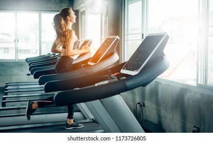 Healthy People running on machine treadmill at fitness gym, Work out concept.Picture of people doing cardio training on treadmill in gym.