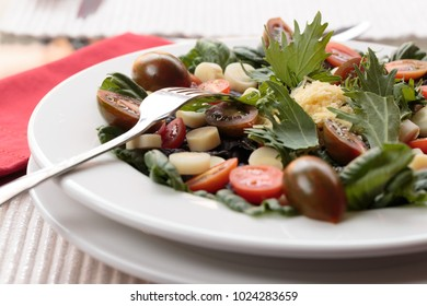 Healthy plate of chef  Salad with arugula, baby tomatoes, cheese, lettuce and hearts of palm.
