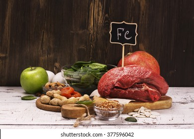 Healthy product rich of iron. Natural sources of ferrum. Selective focus