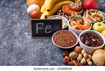 Healthy product sources of iron. Food rich in Fe (ferrum)