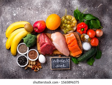 Healthy products for Whole 30 diet. Healthy food