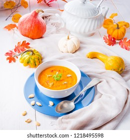 healthy pumpkin soup with ginger carrots and coconut milk