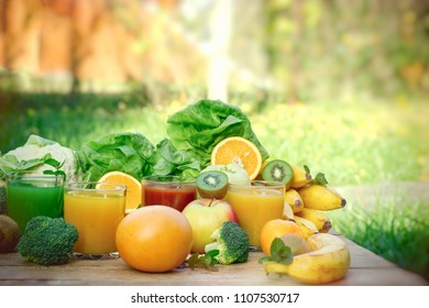 Healthy refreshing drink in hot summer, drinks, (baverage) organic fruit and vegetable on table