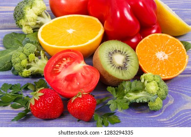 Healthy ripe fruits and vegetables containing vitamin C, natural minerals and dietary fiber, healthy nutrition concept