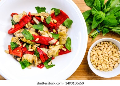 Healthy Roast Vegetarian Red Pepper and Artichoke Salad With Pine Kernels and Basil