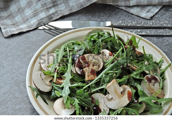 Healthy Salad Arugula Raw Champignons Vegan Stock Photo