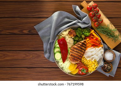 Healthy salad dish with grilled chicken, quinoa, garlic cabbage pepper bell, bell pepper orange, tomato, corn, barbecue. healthy eating. wooden background top view. copy space.