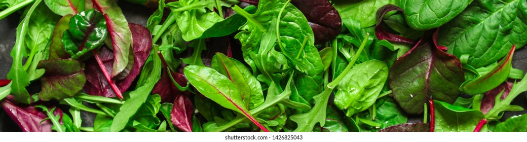 Healthy salad, leaves mix salad (mix micro greens, juicy snack, tomato). food background - Image