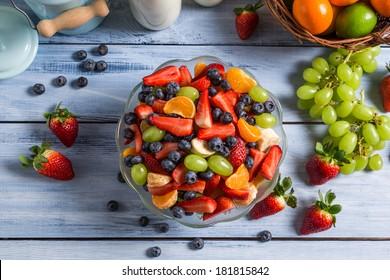 Healthy salad made �¢??�¢??of fresh fruits