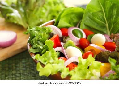 Healthy salad with quail eggs