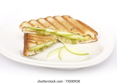 Healthy sandwich with apple and cheese