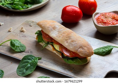 Healthy sandwich of zucchini and tomatoes