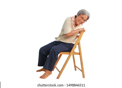 Healthy senior Asian women do exercises with chair, sport elderly lady practice yoga isolated on white background, Mature female warms up muscles, body flexibility and fitness lifestyle concept.