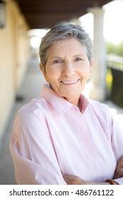 Healthy senior woman smiling.