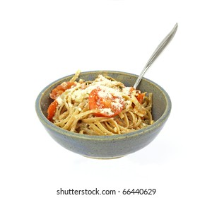 A healthy serving of natural whole grain pasta.