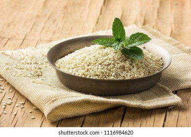 healthy sesame seeds in bowl