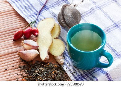 Healthy set with rose hip, ginger, garlic and green tea.