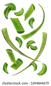 Healthy skin care ingredients. Aloe vera slices and leaves flying isolated on a white background. Levity aloe. Aloe vera slices falling on white background - Shutterstock ID 1694844679