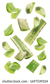 Healthy skin care ingredients. Aloe vera slices and leaves flying isolated on a white background. Levity aloe. Aloe vera slices falling on white background - Shutterstock ID 1697539324
