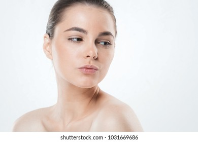 Healthy skin concept, Adult woman portrait, skin care concept, beautiful face female model
