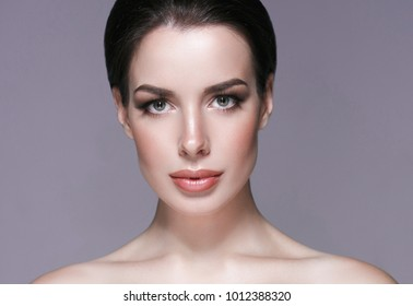Healthy skin female concept, beauty woman face close up portrait, with beauty skin