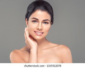 Healthy skin woman beautiful face beauty skin closeup cosmetic concept