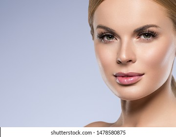 Healthy skin woman beauty face close up beautiful lashes