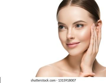 Healthy skin woman beauty female cosmetic model face healthy beautiful skin