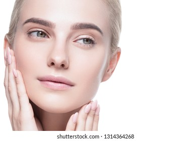 Healthy skin woman blonde white skin makeup beauty female model closeup
