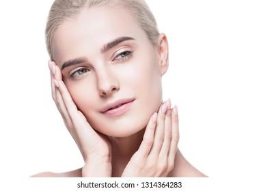 Healthy skin woman blonde white skin makeup beauty female model closeup