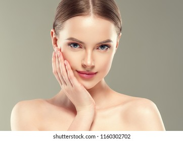 Healthy skin woman close up face cosmetic beauty girl young model beautiful portrait
