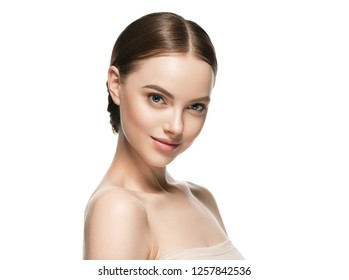 Healthy skin woman face skin care beauty portrait isolated on white