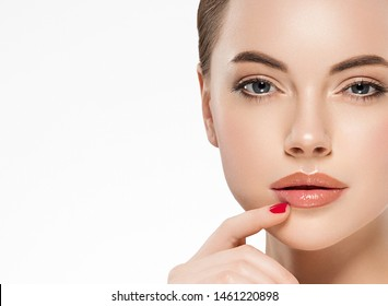 Healthy skin woman face close up isolated on white beauty concept