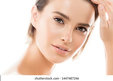 Healthy skin woman face natural makeup clean skin care young model close up female face