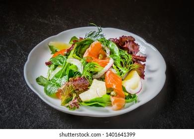 Healthy smoked salmon fruit salad