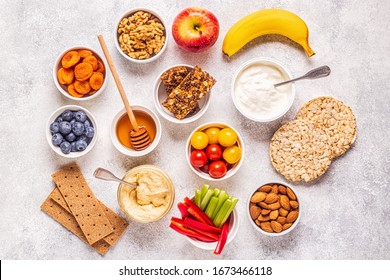 Healthy snack concept, top view.