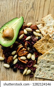 healthy snacks on the wooden background
