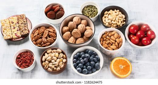 Healthy snacks.  Panorama