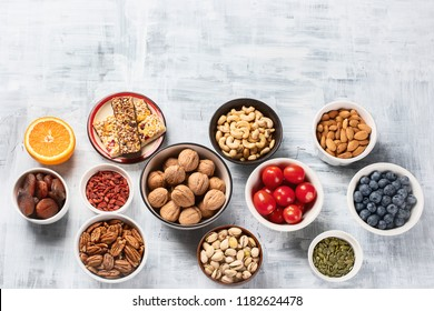 Healthy snacks. Top view. Healthy food concept with copy space