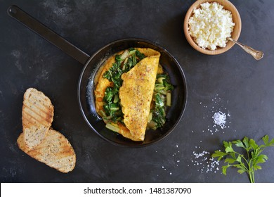 Healthy Spinach Omelet with Cottage Cheese