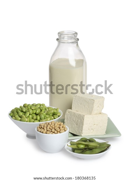 Healthy still life of white and green on white background