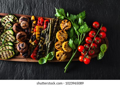 healthy summer food. a wide variety of sliced Grilled Veggies. The perfect garnish for a big bbq party or a celebration , weekend