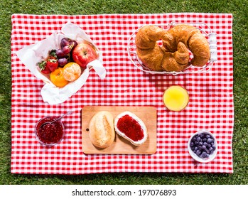 Healthy summer picnic laid out on a fresh red and white checked country cloth on green grass with croissants, jam, fresh fruit, butter and blueberries, overhead view
