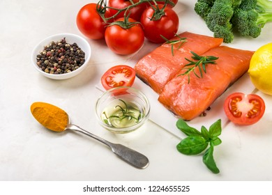 Healthy superfood,  fish,  nuts, seeds and greens. Balanced diet food