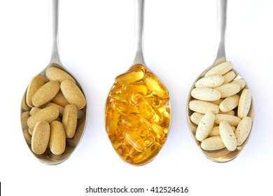 Healthy Supplements on spoons