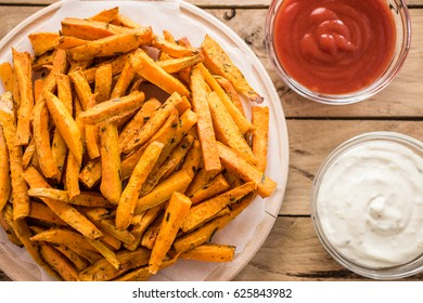 Healthy sweet potato, baked fries.