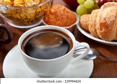 healthy tasty breakfast with coffee